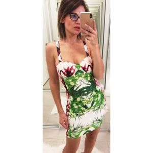 Hot Miami Styles Bandage Mini Dress Floral Print